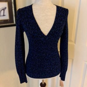Express Blue Leopard Print V-neck Sweater Small